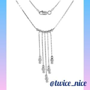 Jewelry - .925 Sterling Silver Square Snake Lariat Necklace